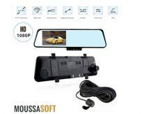 Dashcam HD Retroviseur 1080p double objectif retroviseurs Maroc-camera-embarquee-enregistreur-voiture-dvr-camera-de-recul-maroc